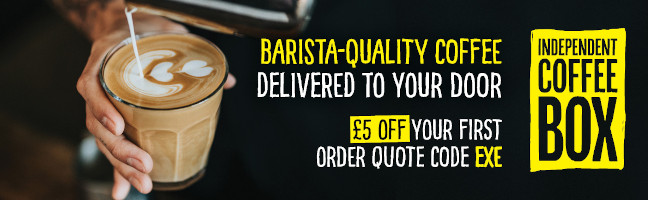 Barista-quality coffee delivered to your door. £5 off with EXE code - Banner