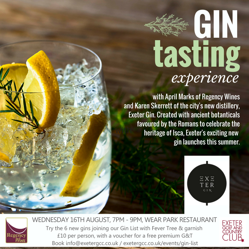 Gin Tasting Night At Exeter Golf And Country Club The