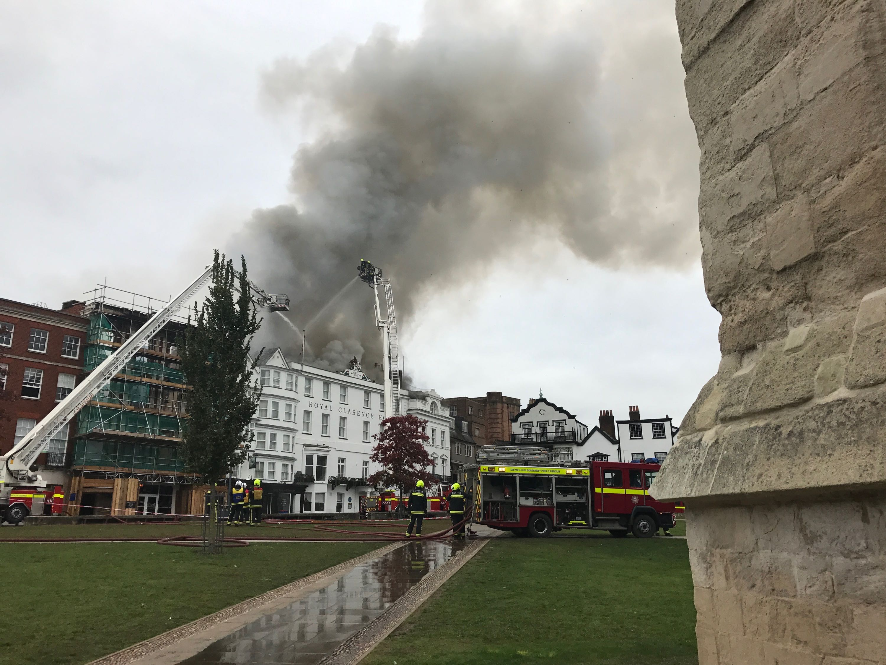 Smoke Billows From Exeter Hotel Roof After Major Fire