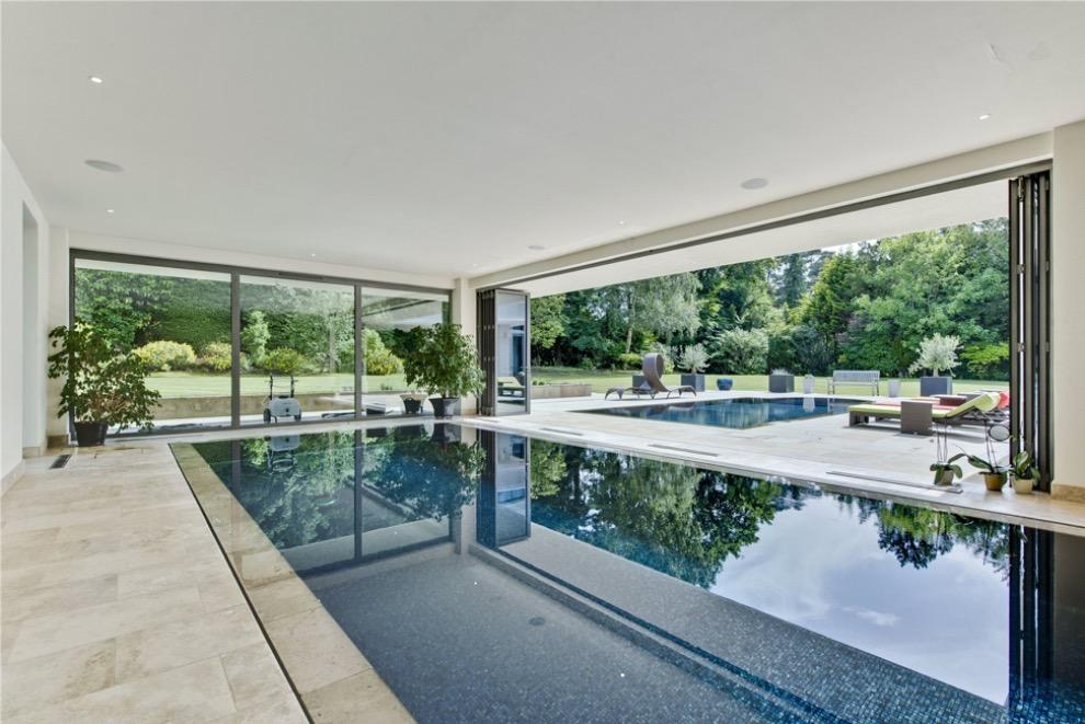 Swimming pool with bi fold doors