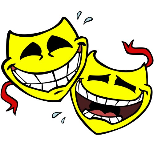 Two smiling, yellow comedy heads