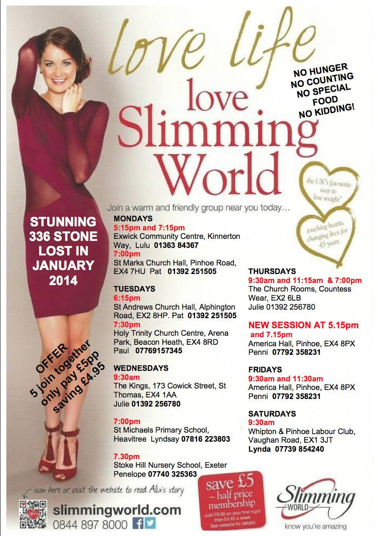 Slim for good with slimming world the exeter daily The slimming world