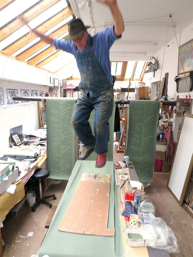 Hugh Dunford Wood Guild Member wallpaper stomping in studio