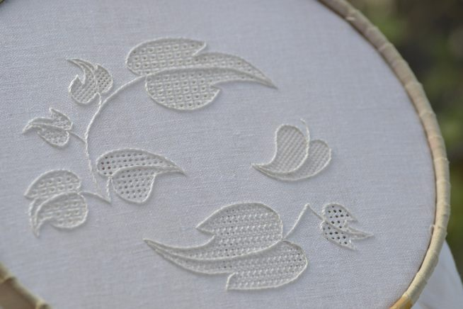 Pulled Thread Whitework Embroidery