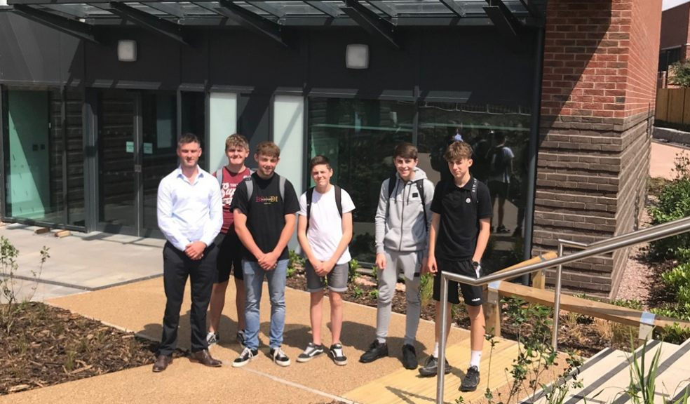 Young people on a site visit with Kier