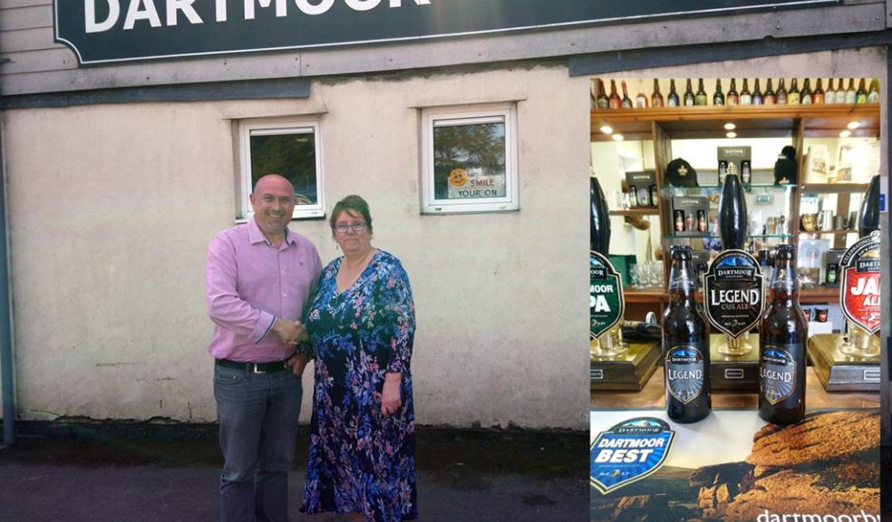 Richard Smith of Dartmoor Brewery and Elaine Cook of Devon Communities Together