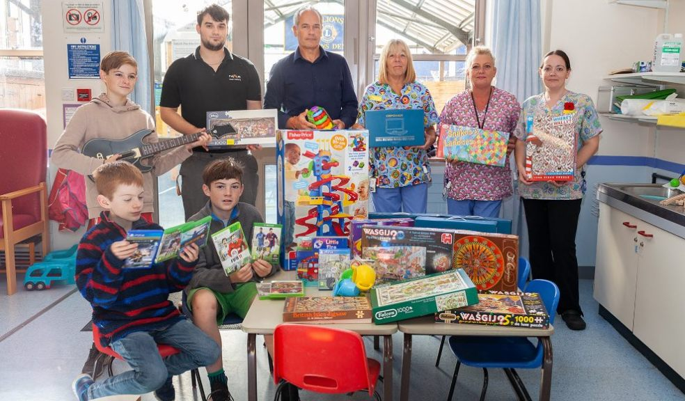 The team during one of their donations to Royal Devon and Exeter Hospital