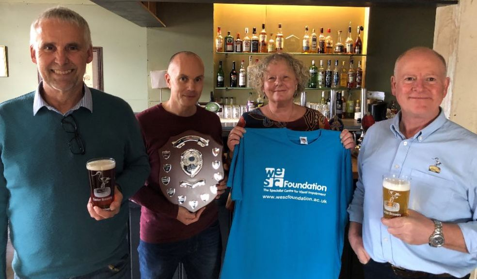 Andy Parker and Stuart Rowe (LV=), Maggie Garrett (WESC Foundation), Alan Collyer (Exeter Brewery)