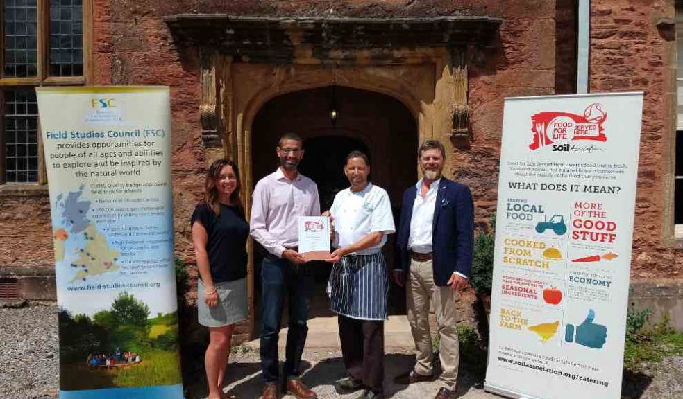 L-R:Kate Payne, FSC Regional H&C Lead & FSC Slapton Centre Manager,David Persaud, Food For Life Served Here Development Manager (Midlands) at the Soil Association, Chris Berry-Roper, Head Chef FSC Nettlecombe Courtand Mark Bolland, Director of Infrastructure at FSC.
