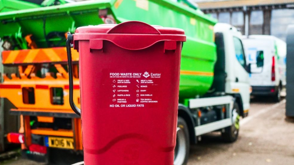 Bin, food, waste, red container, council depot