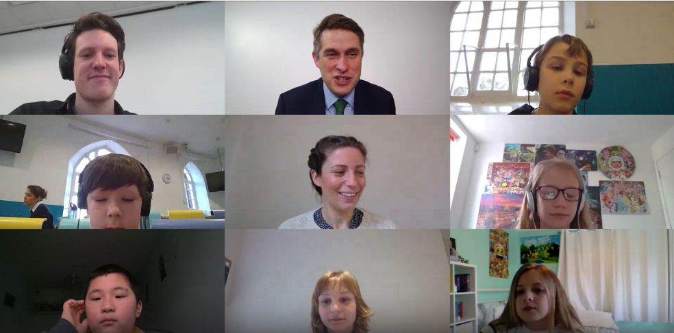 Mr Williamson, teachers and pupils onscreen during the virtual maths lesson