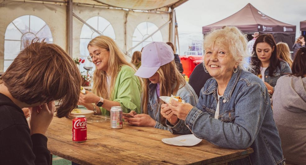 Festival-goers dodged the showers to enjoy Guildfest
