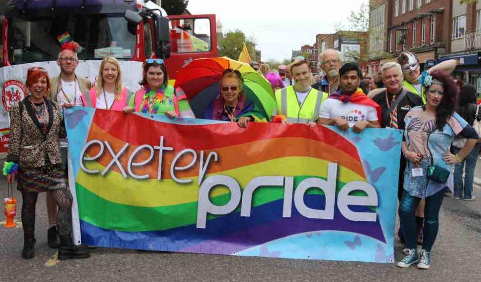 The Lord Mayor of Exeter and Exeter Pride trustees and the Mayor of Axminster before the march started in 2018. Photo: Alan Quick.