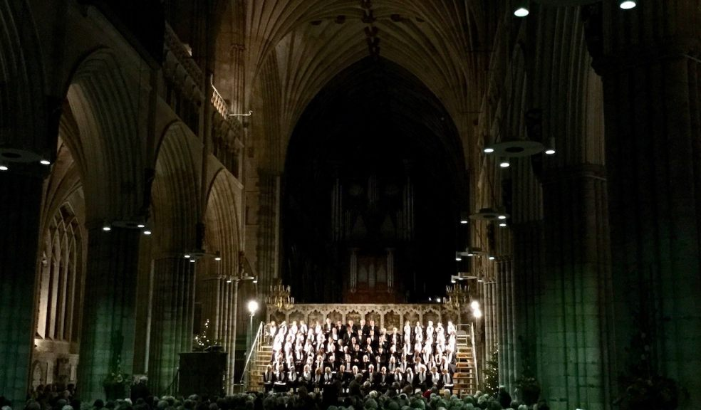 Exeter Philharmonic Choir performing in Exeter Cathedral