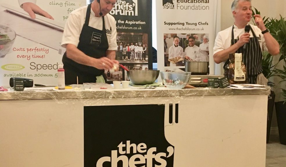 Devon chefs Peter Gorton and Jim Fisher preparing chocolate at Kitley House Hotel
