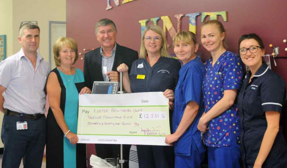 Lyndon, centre left, and Lyne, second left, with members of the Neonatal team