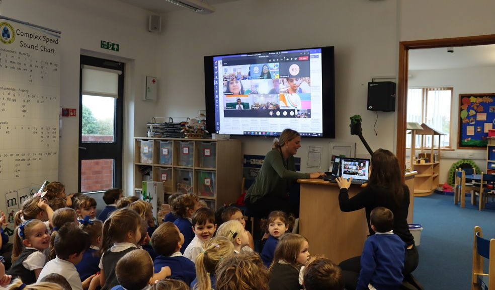 Reception class at Broadclyst Community Primary School connecting online with a school in India