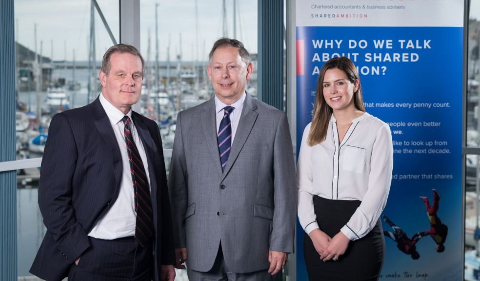 Partner Gordon Fox, centre, is pictured with new starters Emily White (nee Hobbs) and Mark Trevethan at PKF Francis Clark, Plymouth.