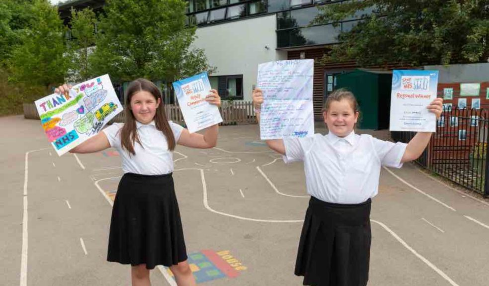 Pupils Lauren Bright (left) and Lilly Sparks (right) from Woodwater Academy with their highly commended and regional winning entries to HEE's Step into the NHS competition