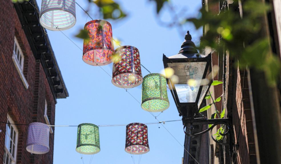 Gandy Street glows with lampshade lighting installation