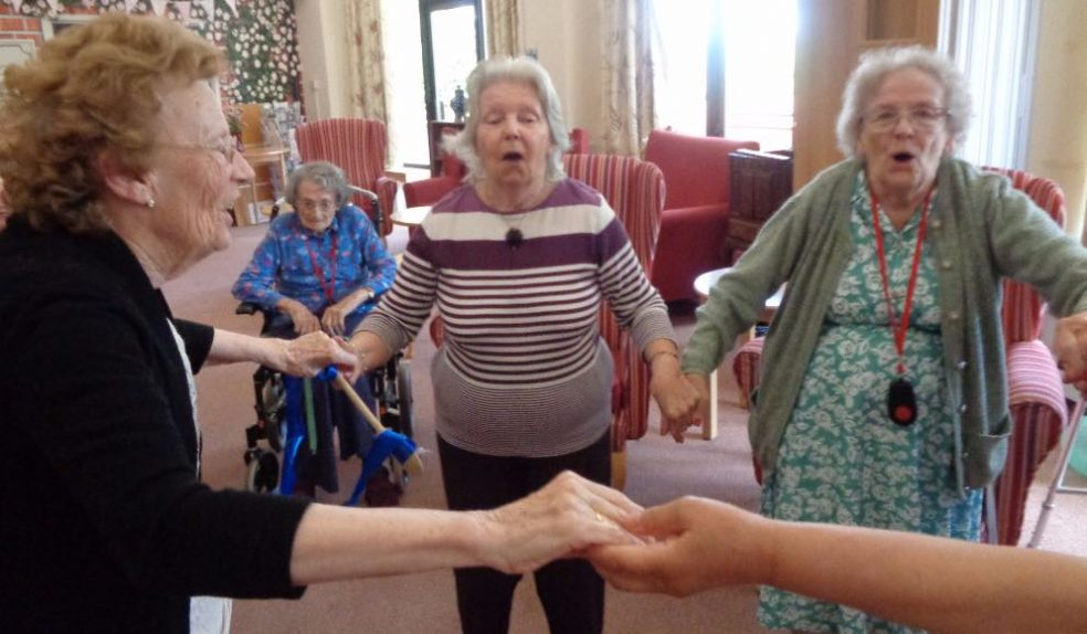 Residents at RMBI Home Cadogan Court feel the rhythm on BBC Music Day.