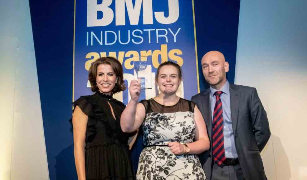 Sarah Daniel from RGB Building Supplies receiving the Independent Rising Star of the Year Award at the BMJ Industry Awards. From LtoR: Natasha Kaplinsky OBE, Sarah Daniel, and a representative from H+H which sponsored the award.
