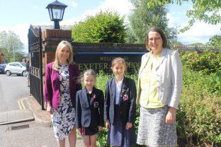 L-R: Exeter Junior School Reading Development Coordinator Leah Hardy, Lottie, Kate and Exeter School Librarian Belinda Jackson.