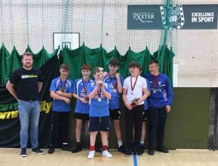 The Space Raiders team which won the Exeter City FC One Game One Community Group futsal tournament. Photo: Alan Quick