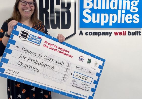 RGB Building Supplies has raised over £8k for Devon Air Ambulance and Cornwall Air Ambulance Trust