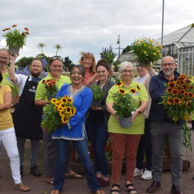 Group of people with flowers