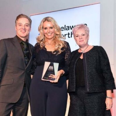 Rory Campbell (MC), Caroline Strawson of Caroline Strawson: The Divorce and Breakup Coach (winner in the Best New Business category) Sam Steele (Delaware North) at the National Business Women's Awards 2018