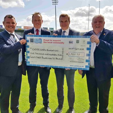 LtoR David Bird, Trustee at the Exeter Chiefs Foundation; Paul Lethbridge Branch Manager at RGB Building Supplies' Okehampton branch; Paul West, Branch Manager at RGB Building Supplies' Exeter branch and Tony Rowe OBE, Chief Executive and Chairman of Exeter Rugby Group Plc