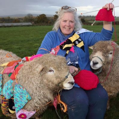 Deborah Custance Baker launches the longest knitting bunting challenge for Devon County Show 2020, the 125th Show