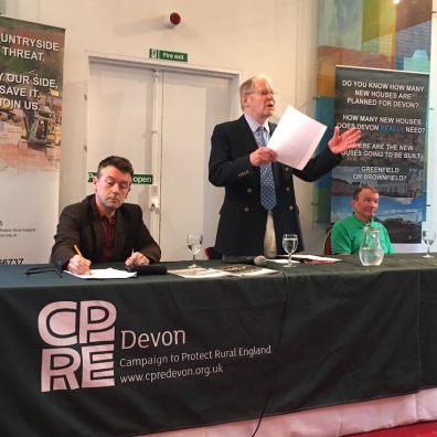 Tom Jones, Robin Hogg and Dr Phil Bratby at CPRE Devon's recent housing seminar in Tavistock