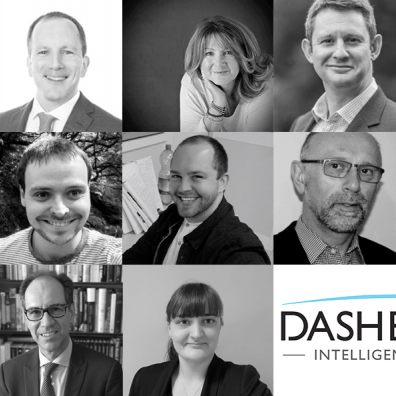 Black and white collage of employees at Dashboard that are participating in the Move For Mind event
