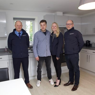 From left Andy Rowden from Charles Church South West, with Tom, Stacey Harris and Robert Hart of Charles Church South West , in Tom's new home