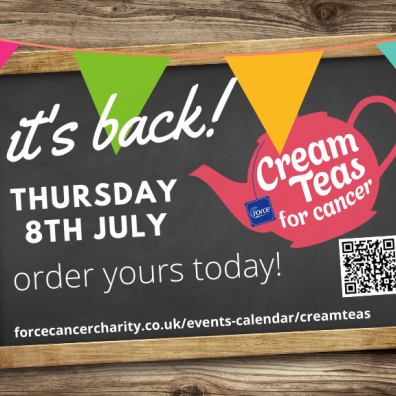FORCE cancer Charity's Cream Teas for Cancer event is back this July.