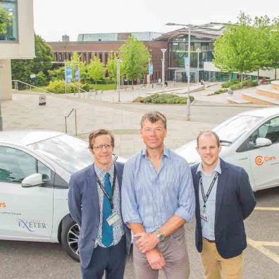 L-R: Andy Seaman (Energy Manager, University of Exeter), Mark Hodgson (MD, Co Cars) and Joel Smith (Sustainability Officer, University of Exeter).