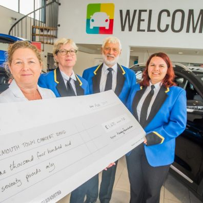 Exmouth Town Concert Band presented with their grant from Hendy Foundation