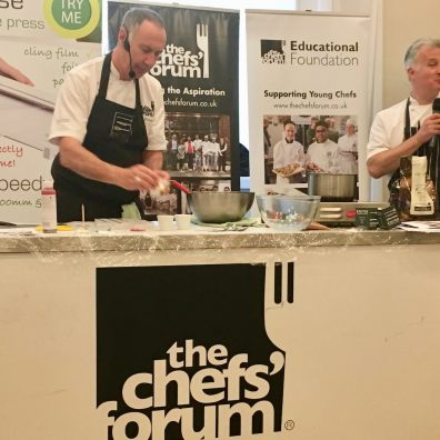 Devon chefs Peter Gorton and Jim Fisher preparing chocolate at Kitley House Hotel