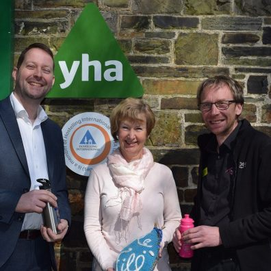 Picture of Greg Dugmore, Fran Rickwood and Paul Elson opening the water refill station