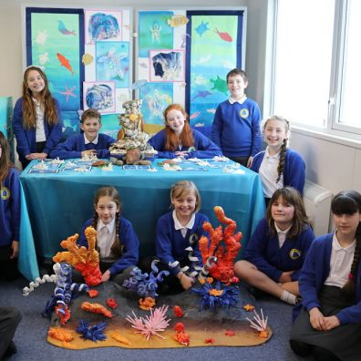 Members of the Broadclyst Art Squad with their shortlisted entry