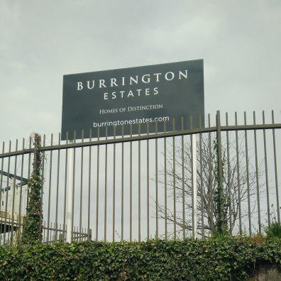 Sign saying Burrington Estates, Homes of Distinction