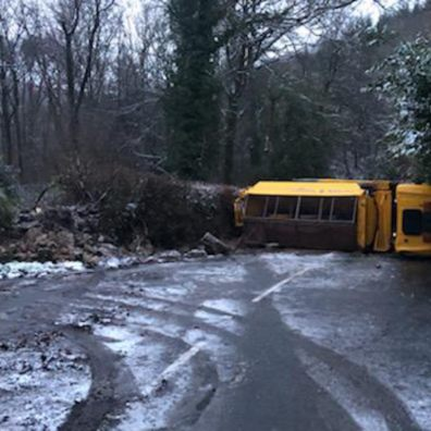 Overturned gritter at Holne, weather, Devon, Snow, Ice