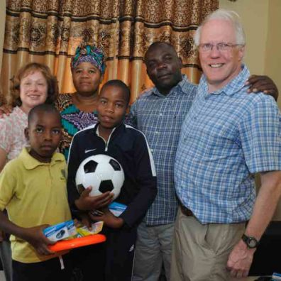 The Farries with the family of their sponsored child in Tanzania. November 2018