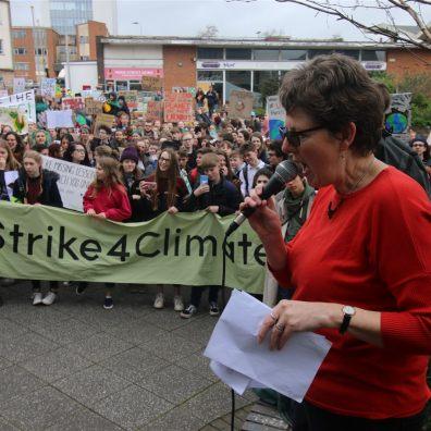 Rachel Sutton at Climate Change protest