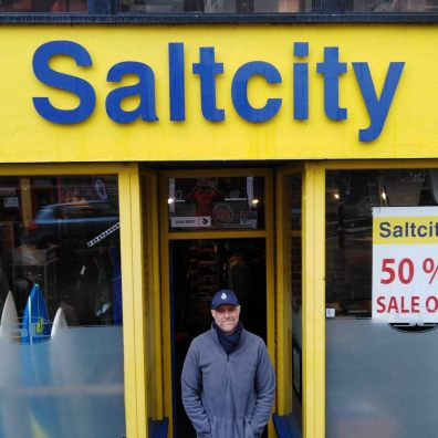 Independent shop keeper Richard Monk outside Saltcity