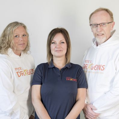 Pete's Dragons CEO Alison Jordan (centre) with fellow suicide liaison officers Nicky Creek and Dave Lacey.
