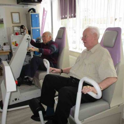 Cadogan Court residents Peter Lawrey and Ted Forward prove age is no barrier to exercise at Motortone, a gym for older adults.