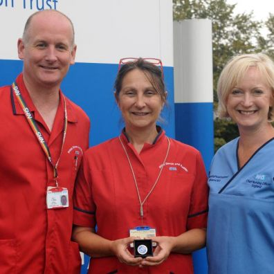 Tina Grose (centre), with Interim Chief Nurse at the RD&E, Dave Thomas, and Chief Nursing Officer for England, Ruth May.